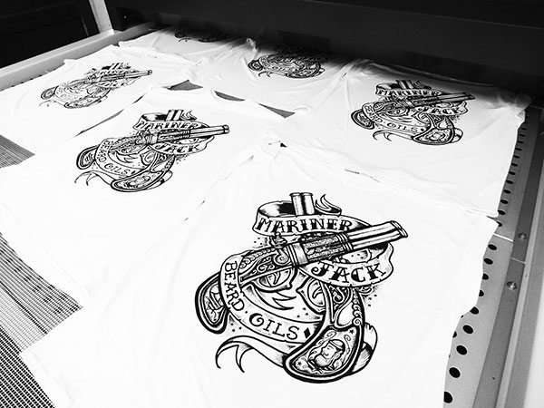 Mariner Jack Flintlock Design Screenprinted onto White T Shirts