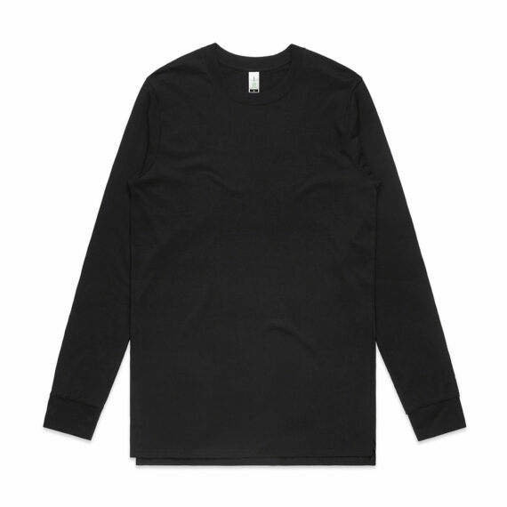 AS Colour 5029G Mens Base Organic Long Sleeve Tee Black Front