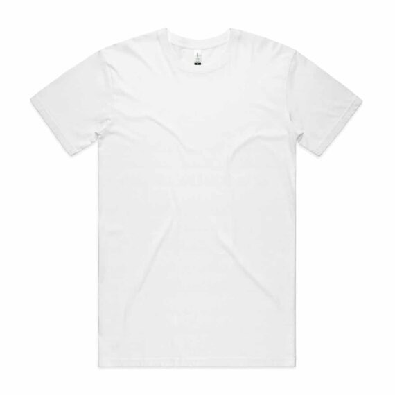 Front of White AS Colour 5001G Mens Staple Organic Tee