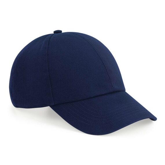 Front View of Oxford Navy BB54 Organic Cotton 6 Panel Cap