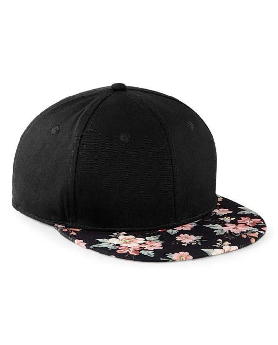 Beechfield 6 Panel Graphic Peak Snapback Cap - Faded Floral