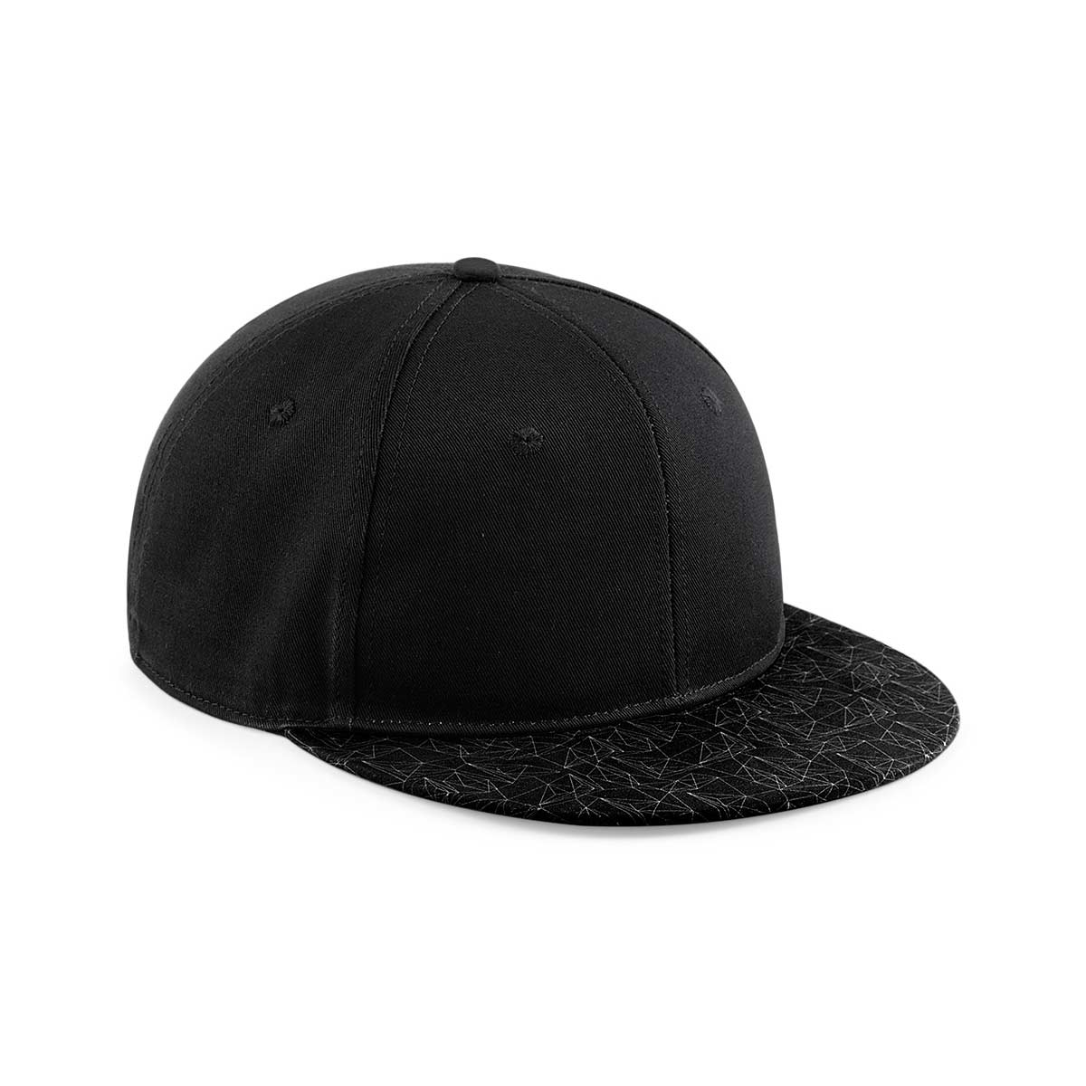 Beechfield 6 Panel Graphic Peak Snapback Cap - Geometric