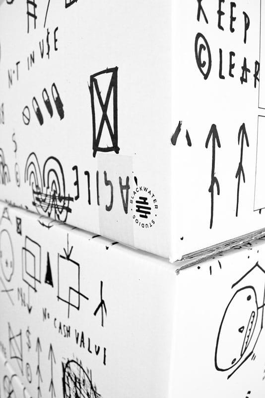 close up of Box design by Skeleton Cardboard