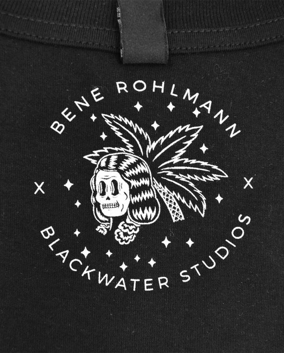 Screen printed inside neck print with art by Bene Rohlmann