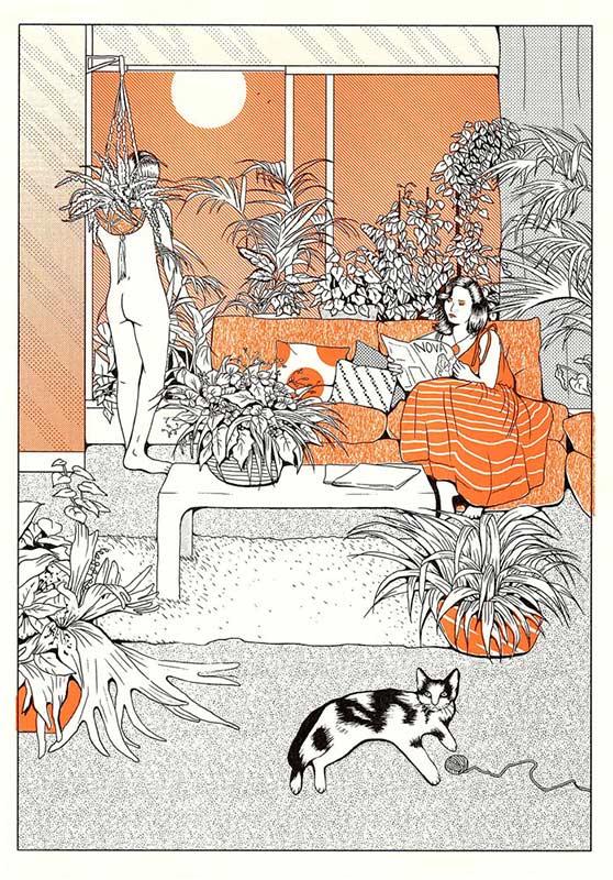 Orange Lounging Cat Sims Illustration