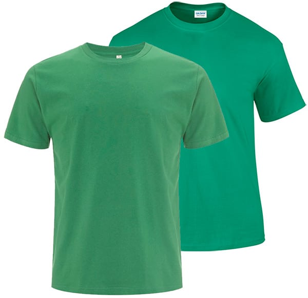 Comparison of Kelly Green t shirts between brands.