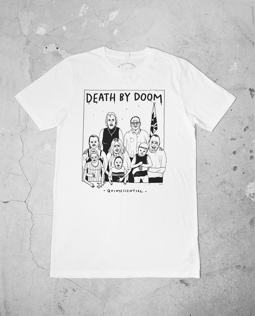 Front of Death By Doom T Shirt by Jimp aka Jim Hollingworth