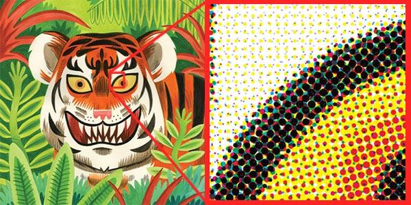 Close up of CMYK dots on Tiger Digital Print
