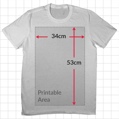 Printable Area on Unisex Small T Shirt