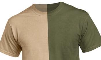 Different colour shades of khaki t shirt