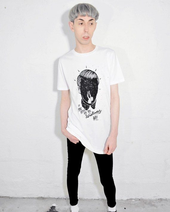 Model wearing Loneliness T Shirt