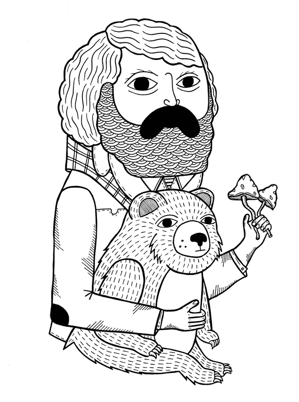 Man Bear Mushrooms Illustration by Michael C. Hsiung