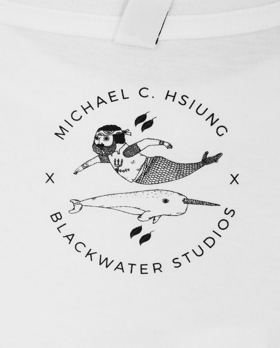 Screen printed inside neck print with art by Michael C. Hsiung