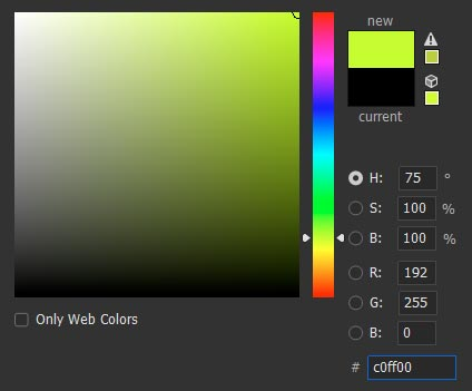Screenshot of Photoshop Colour Picker for RGB and Hex Values