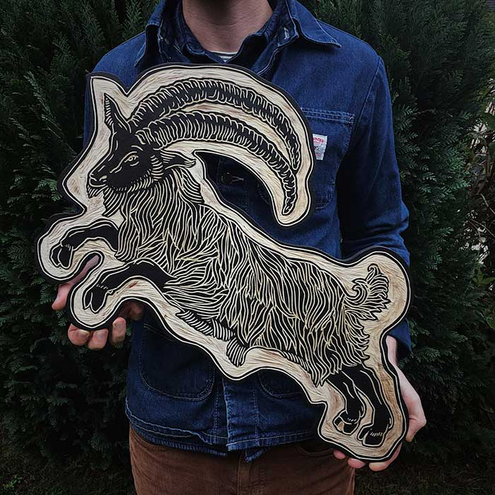 Black Phillip Woodcut by Robbie Jones