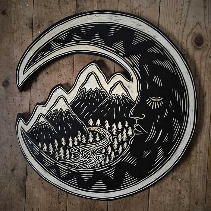 Moon Woodcut by Robbie Jones