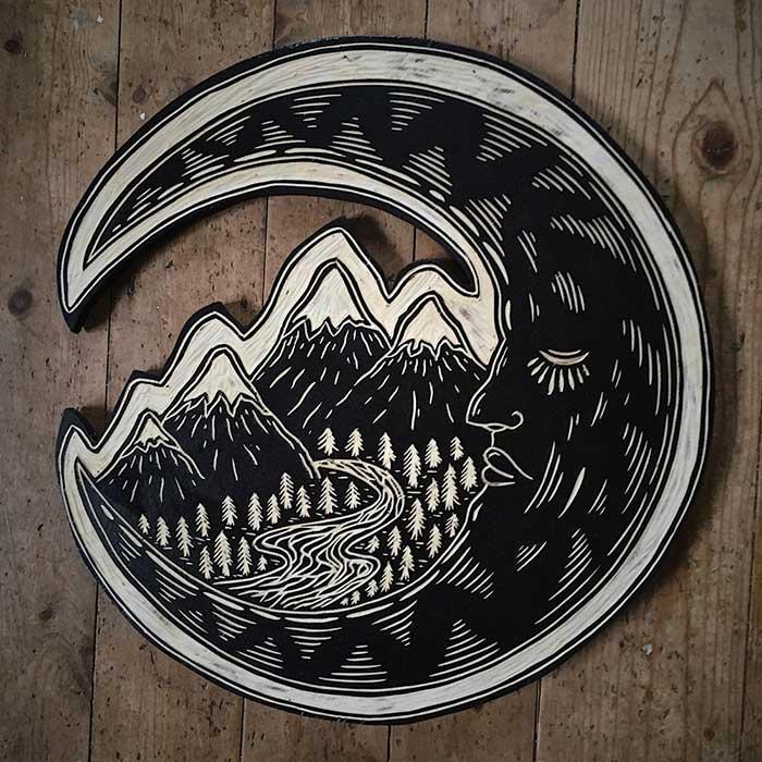 Moon Woodcut by Robbie Jones