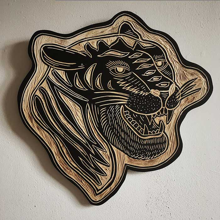 Tiger Woodcut by Robbie Jones