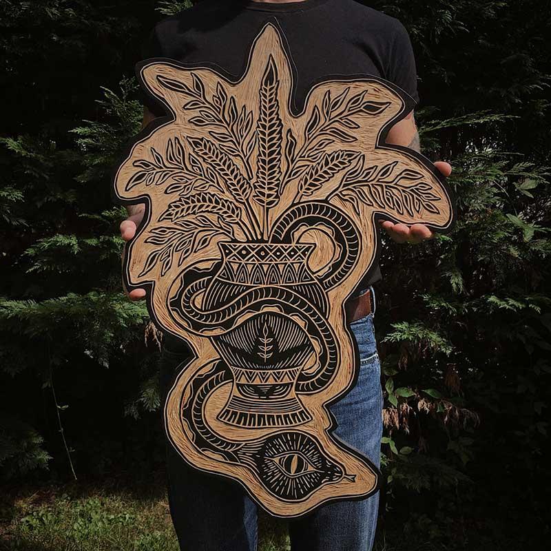 Vase Woodcut by Robbie Jones