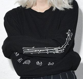 T shirt screen printed on long sleeves