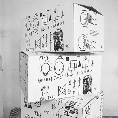 Stack of Screen Printed Boxes
