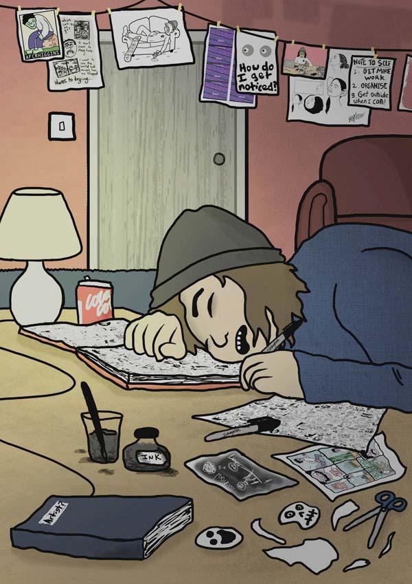 sleeping at desk postcard by benny brown