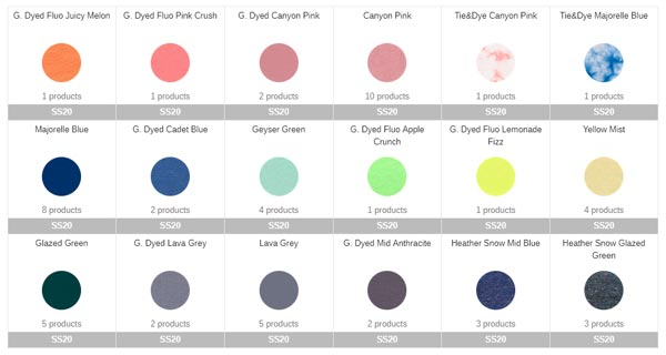 Example of Stanley Stella Seasonal Colour Collections