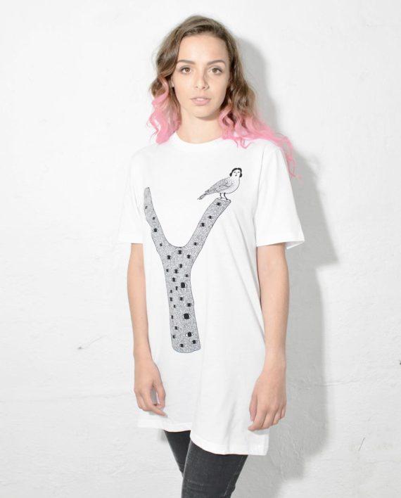 Model Shot of Tree Bird T Shirt